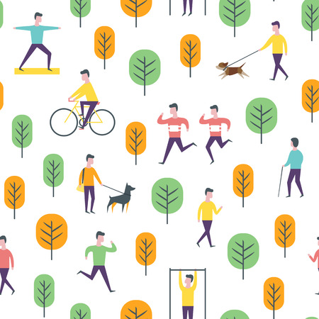 Seamless park pattern. Vector people and sport