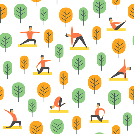 Seamless yoga poses pattern. Vector people in park, sport illustration.