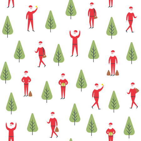Seamless christmas pattern. Vector santa claus and tree illustration. Illustration