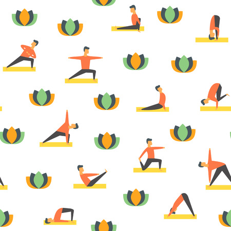 Seamless yoga poses asamas pattern. Vector people fitness