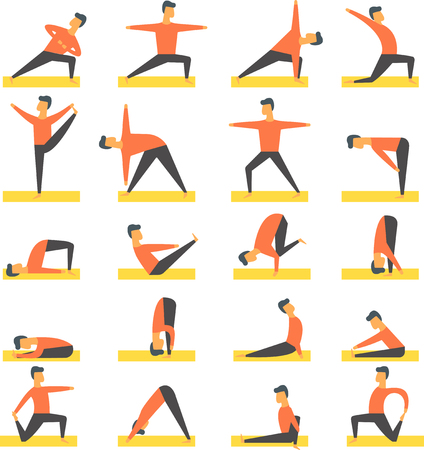Yoga poses asanas vector set.