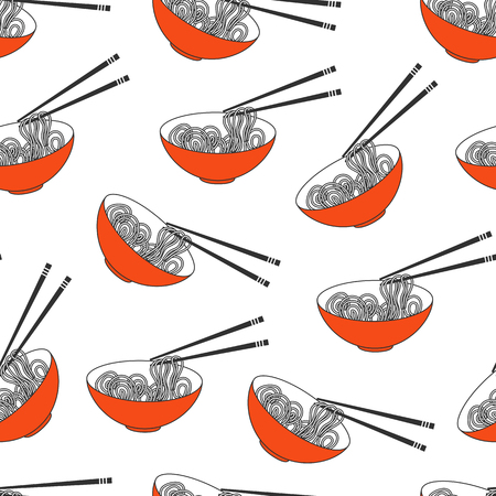Asian food, ramen noodles bowl pattern.