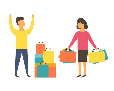 Shopaholic woman buying too much. Angry husband. Shopping addiction vector Vektoros illusztráció