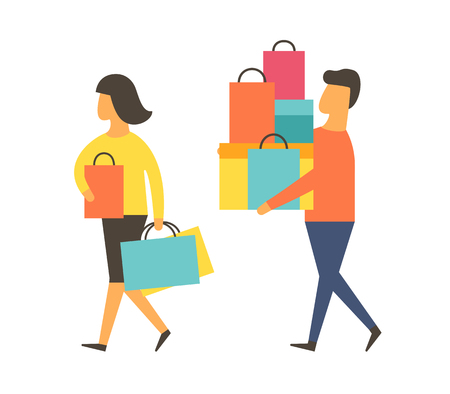 Man and woman on shopping spree from sale. Shopping vector people