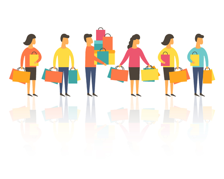Shopping people with bags. Vector illustration Vettoriali