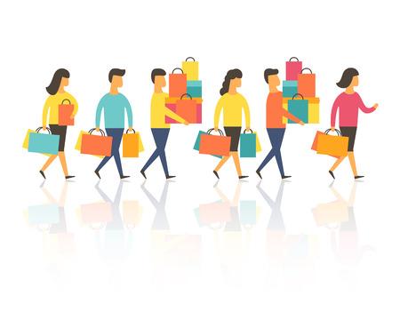 Ludzie na zakupy z torbami. Ilustracji wektorowych