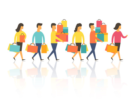 Shopping people with bags. Vector illustration Stock Illustratie