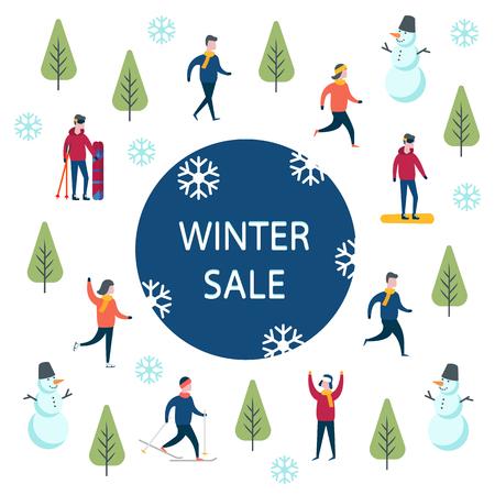 End of season winter sale. Winter sport activities shopping. Illustration