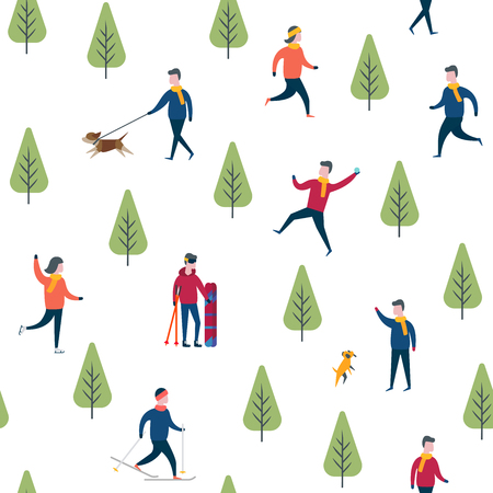 Seamless winter sport activities. Skiing and skating, outdoor walking. Flat design vector wrapping paper.