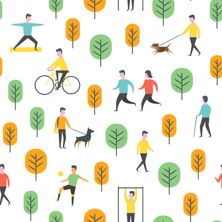 Seamless outdoor activity pattern. Sport, running people, yoga in park. Wrapping paper vector template. Illustration
