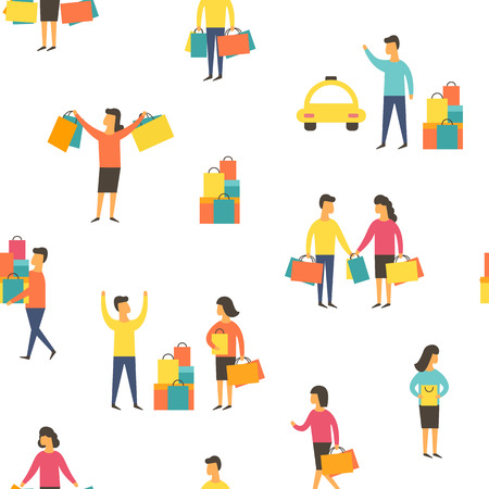 Shopping people with bags. Vector illustration Stock Photo