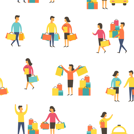 Shopping people, man and woman with bags. Seamless vector illustration