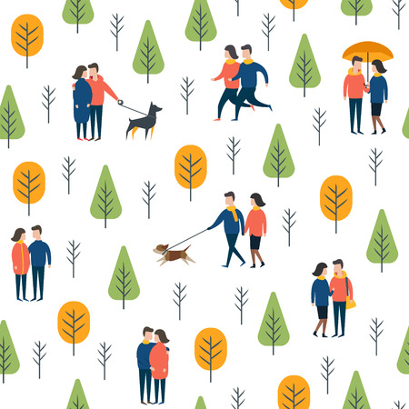 A Seamless pattern of lovers in park. Romantic couple walking together. Wrapping paper vector template. Illustration