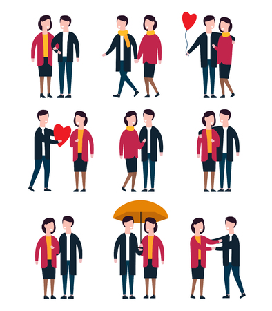 Romantic couples, lover people together. Person character vector set