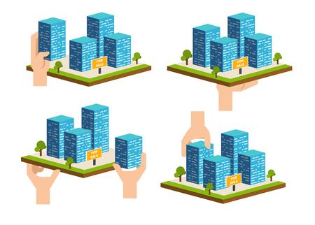 Real estate building concept vector illustration set Illustration