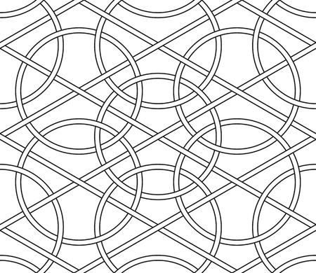 Interlaced circles, seamless line geometric vector patterns