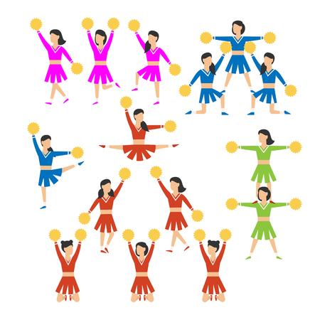Cheerleader girls team set. Vector illustration