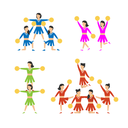 Cheerleader girls team set. Vector illustration