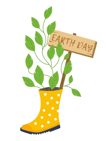 Earth day, flower pot vector illustrations