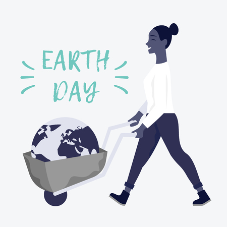 Earth day poster with a woman with a wheel barrow. Stock Illustratie
