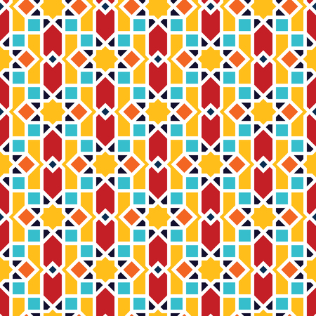 Color Islamic ornament pattern. Seamless vector geometric background in arabian style