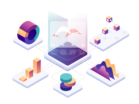 Isometric data analysis. Modern digital graphics and charts analyzing statistics. Vector 3d illustration Иллюстрация