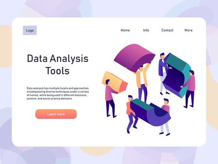 Data analysis landing page template with people. Digital information chart and statistics. 3d isometric vector illustration