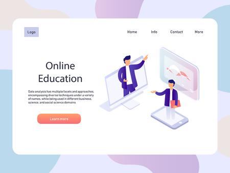 Online webinar. Education isometric landidng page. E-learning vector illustration.