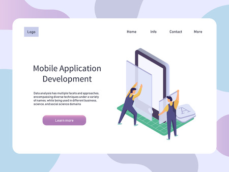 Mobile Application development. Worker building smartphone app. Isometric technology vector illustration.