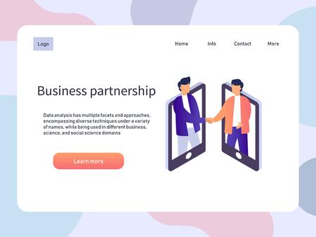 Réunion en ligne, partenariat d'affaires. Poignée de main de partenaire de personnes. Illustration isométrique vectorielle Vecteurs