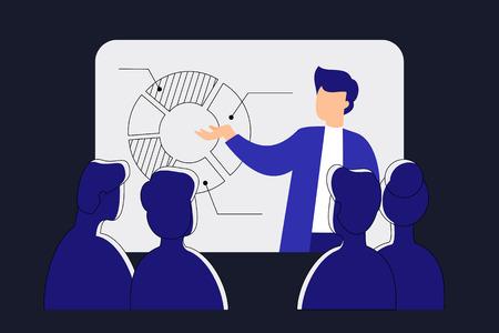 Online webinar. Distance education. People meeting on conference on-line. Technology vector illustration Illustration