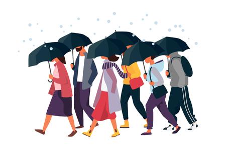People holding umbrella, walking under the rain. Autumn fall weather season, rainy day. Man and woman characters vector illustration. Vector Illustration