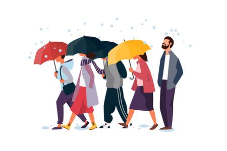 People holding umbrella, walking under the rain. Autumn fall weather season, rainy day. Man and woman characters vector illustration.