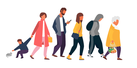 Man, woman and kid characters. Crowd of people different ages walking in autumn clothes. Vector illustration. Vektoros illusztráció