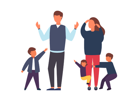Family with kids. Tired parents with naughty children. Couple of people with babies. Vector illustration. Illustration