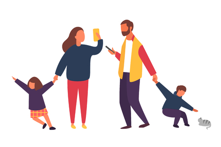 Busy parents with mobile smartphones. Family with kids. Children demanding attention from adults. People vector illustration Çizim