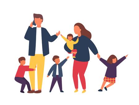Gezin met kinderen. Vermoeide ouders met stoute kinderen. Paar mensen met baby's. Vector illustratie.