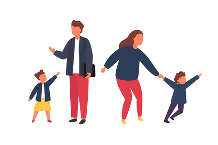 Family with kids. Tired parents with naughty children. Couple of people with babies. Vector illustration. Ilustração
