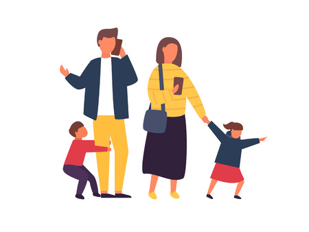 Busy parents with mobile smartphones. Family with kids. Children demanding attention from adults. People vector illustration Illustration