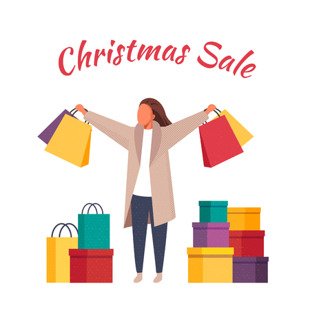 Shopping women with bags. Christmas sale vector illustration 向量圖像