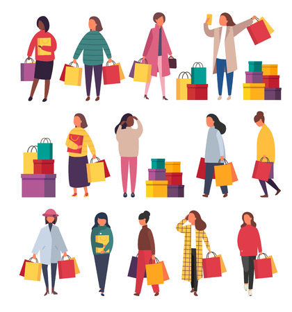 Shopping women with bags. Vector sale illustration