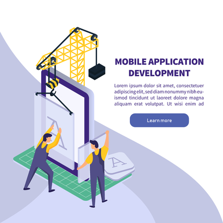 Mobile Application development. Worker building smartphone app. Isometric technology vector illustration 向量圖像