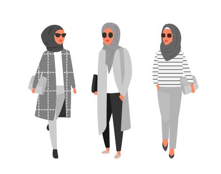 Hijab muslim woman. Arab modern fashion. Vector people