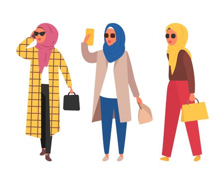 Hijab muslim woman. Arab modern fashion. Vector people Ilustrace