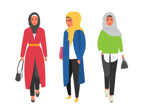 Hijab muslim woman. Arab modern fashion. Vector people Çizim