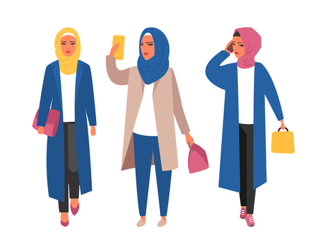 Hijab muslim woman. Arab modern fashion. Vector people 일러스트