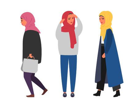 Hijab muslim woman. Arab modern fashion. Vector people Çizim