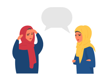Muslim women chatting with speech bubbles. Place your text vector illustration.