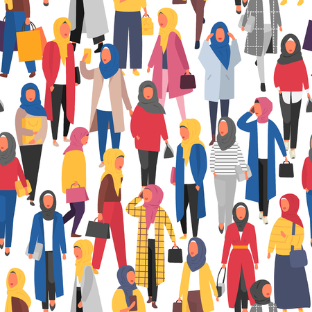 Hijab muslim woman. Arab modern fashion. Vector people banner Ilustração