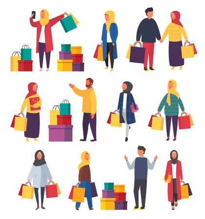 Shopping muslim women with bags. Vector sale illustration 向量圖像